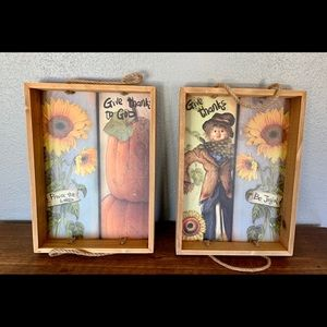 Vintage Pair Autumn Wooden Trays Wall/Table Decor